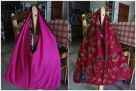 Reversible tote bag – pink maroon (23L x 19W in) (RM25)